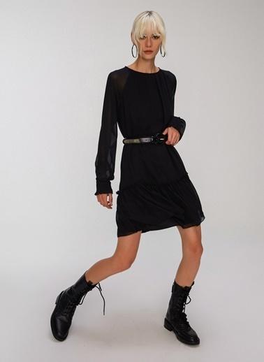 People By Fabrika Bol Kesim Elbise Siyah